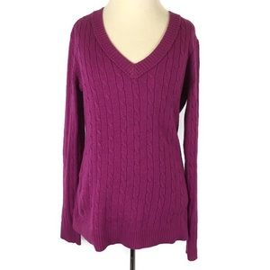 Loft Sweater Cable Knit Purple Rabbit Hair Size M